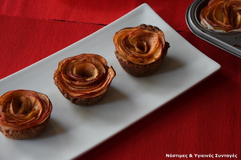 νηστίσιμη μηλόπιτα σαν τριαντάφυλλο