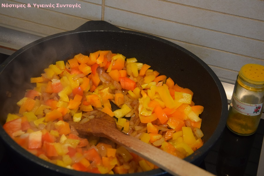 αρωματικό ρύζι με μανιτάρια και πιπεριές 8