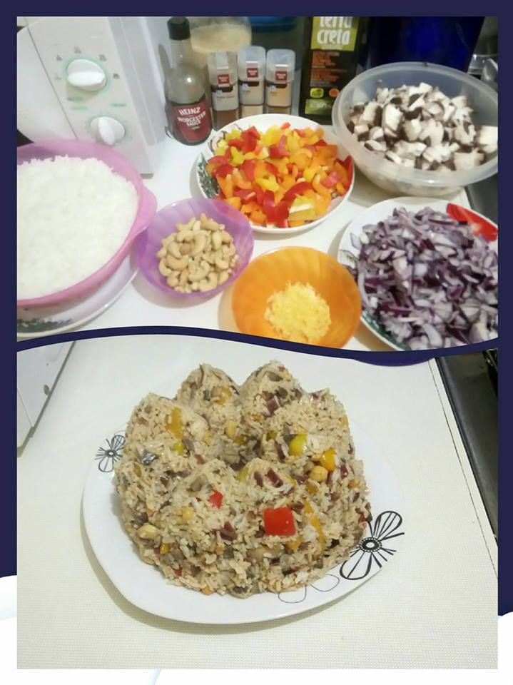 αρωματικό ρύζι με μανιτάρια και πιπεριές 9