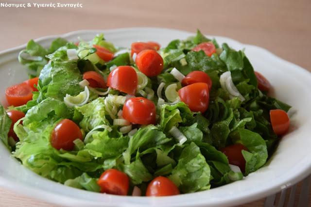 σαλάτα μαρούλι ντοματίνια