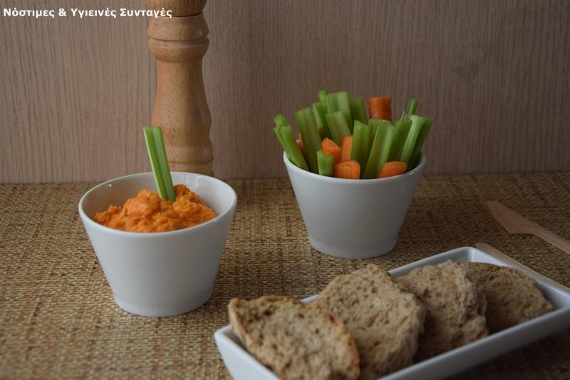 χούμους - vegan τυροκαυτερή, με πιπεριές φλωρίνης 3