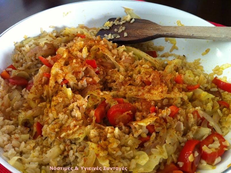 καστανό ρύζι με λαχανικά, εύκολο κινέζικο