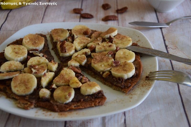 pancake βρώμης με μερέντα και μπανάνα 2