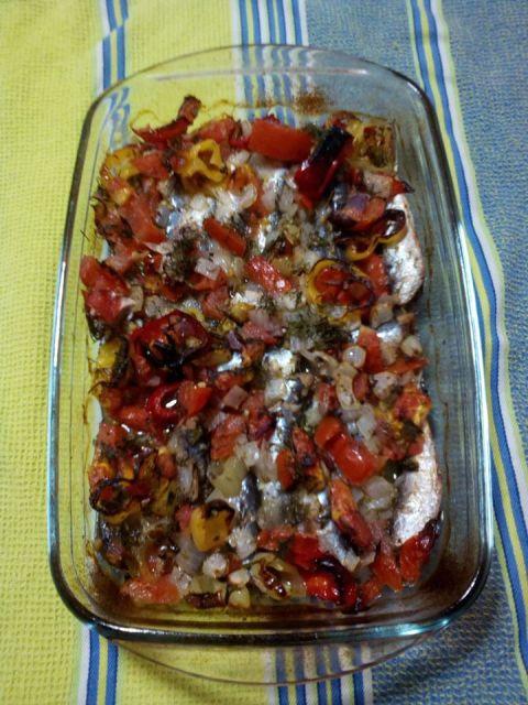 σαρδέλες με ντομάτα στον φούρνο