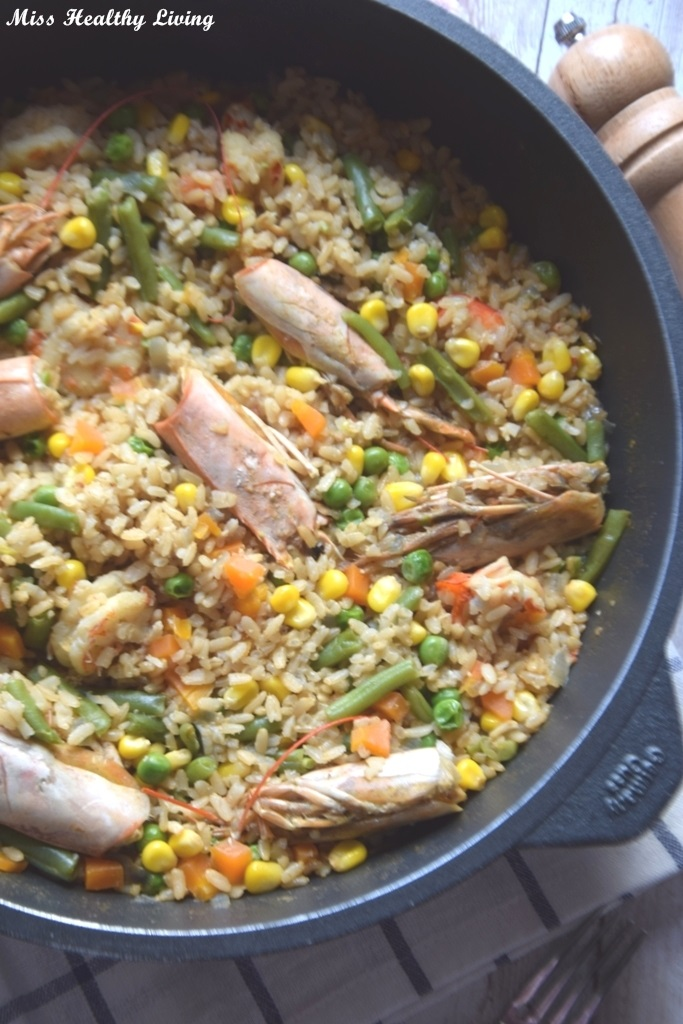 γαρίδες με ρύζι και λαχανικά